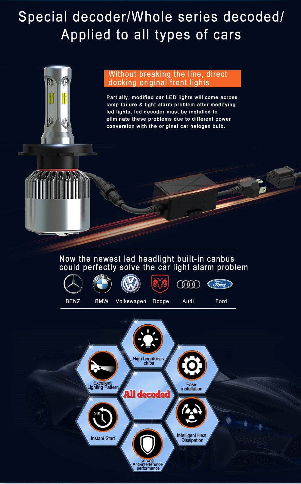 Supper Quality fully water-proof, dustproof 35W 8000lm with fan desgin S2 led h7 headlight