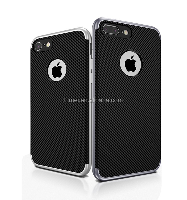 2016 New Style Cell phone Cover Carbon Fiber 2 in 1Case For iphone7, for apple iphone 7 phone cover