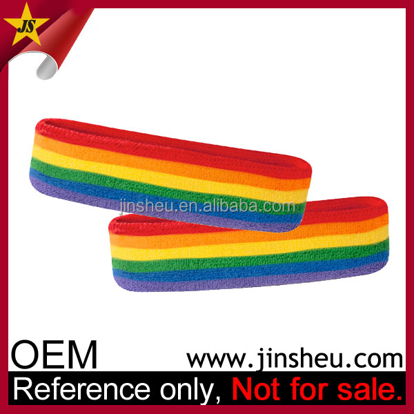 Wholesale Custom Promotion Gay Pride Rainbow Cloth Stretchy Hair Headband