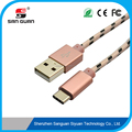 Nylon sleeve braiding usb type c cable to usb 2.0A metal shell