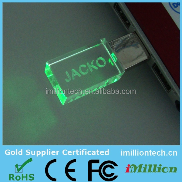 USB Flash Drive 16gb Hi Speed USB 2.0 Metal Crystal Glass LED Light USB Thumb Drive