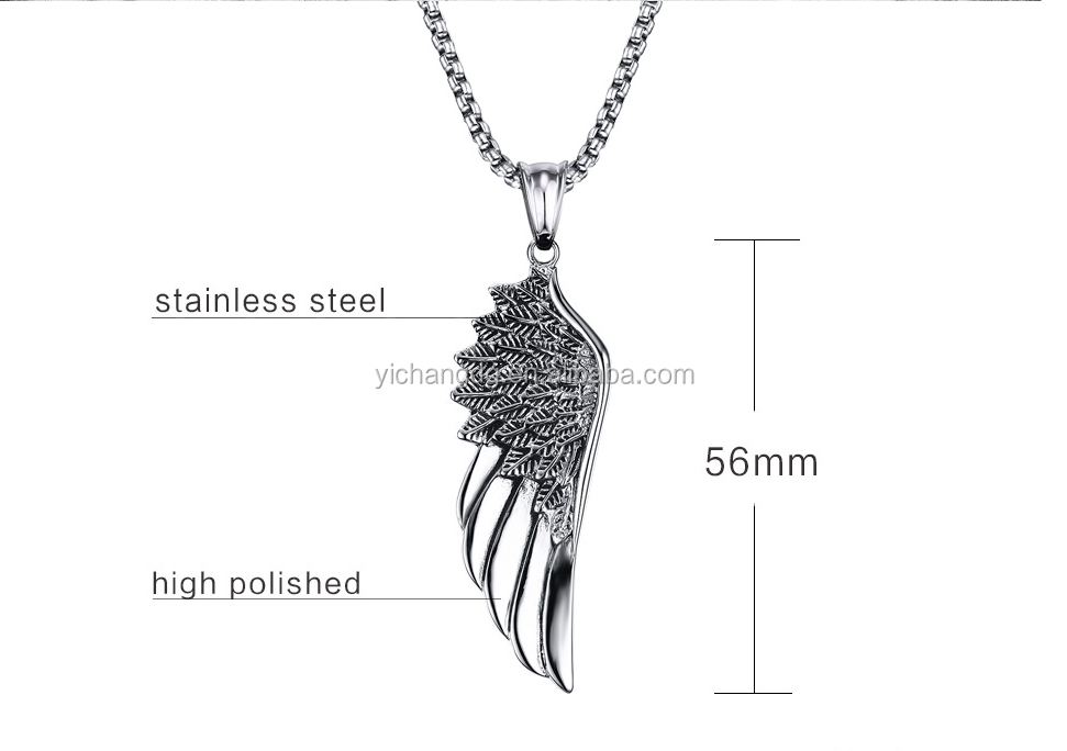 Men Stainless Steel Gothic Feather Angel Wing Choker Necklace