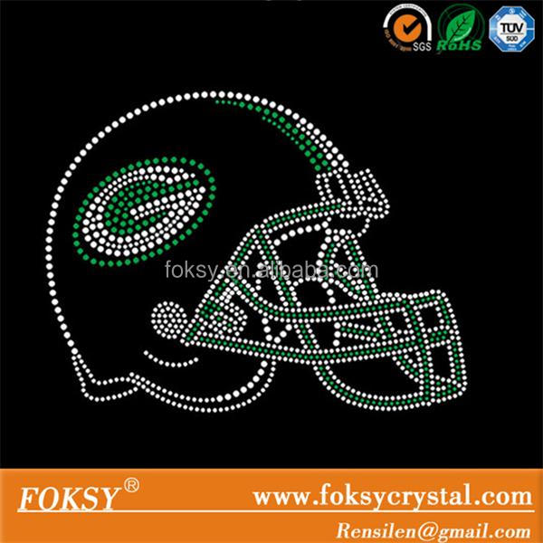 green bay packers helmet hot fix rhinestone transfer, iron on motif for jersey