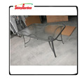 Steel rectangular dining table outdoor garden furniture with tempered glass