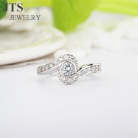 JTS Elegant 18K White Gold Micro Pave Synthetic Diamond Crystal CZ Stone Wedding Bands or Rings Jewelry R070