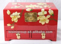 Traditional Asian Style Lacquer Jewelry Box Made of Solid Wood with Painted Magnolia Flowers BF06-1032