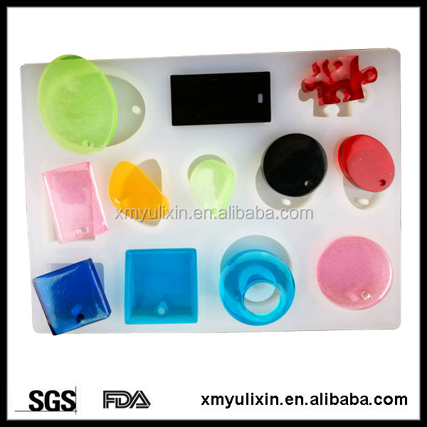Polished different shaped silicone concrete jewelry mold