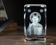 Catholic Religious Crystal Souvenir 3D Laser Crystal Jesus K9 Crystal Glass Cube