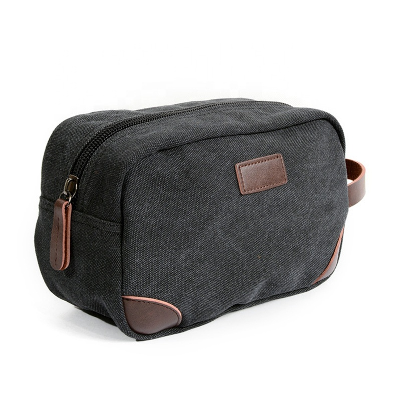 Personalized Cool Zipperd Waxed Canvas Mens Toiletry Bag Shaving Dopp Case Bathroom Wash Kit Bag for <strong>Travel</strong>