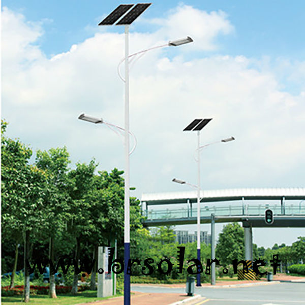 steel pipe street light pole with double arms