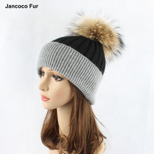 Cashmere Knitted Hats for Women Winter Snow Ski Beanies Large Raccoon Real Fur Pompom Caps