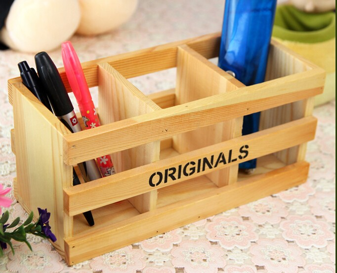 antique natural wood color personalized Wooden handmade pen holder