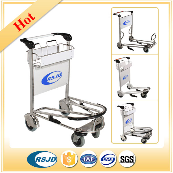 Stainless steel 4 wheels airport baggage cart with handle brake