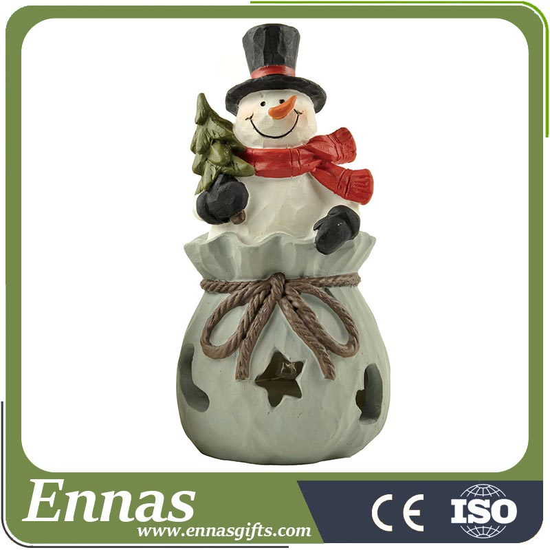 Polyresin LED snowman holding tree for christmas gifts