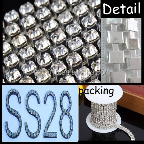 SS28 Plating white K Square Cup Chain roll rhinestone chain
