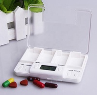 health care pills package pillbox digital with reminder alarm plastic case of pill