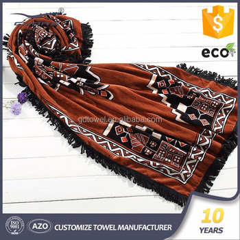 factory direct sale promotional digital printing sublimation printed large turkish cotton custom beach towel