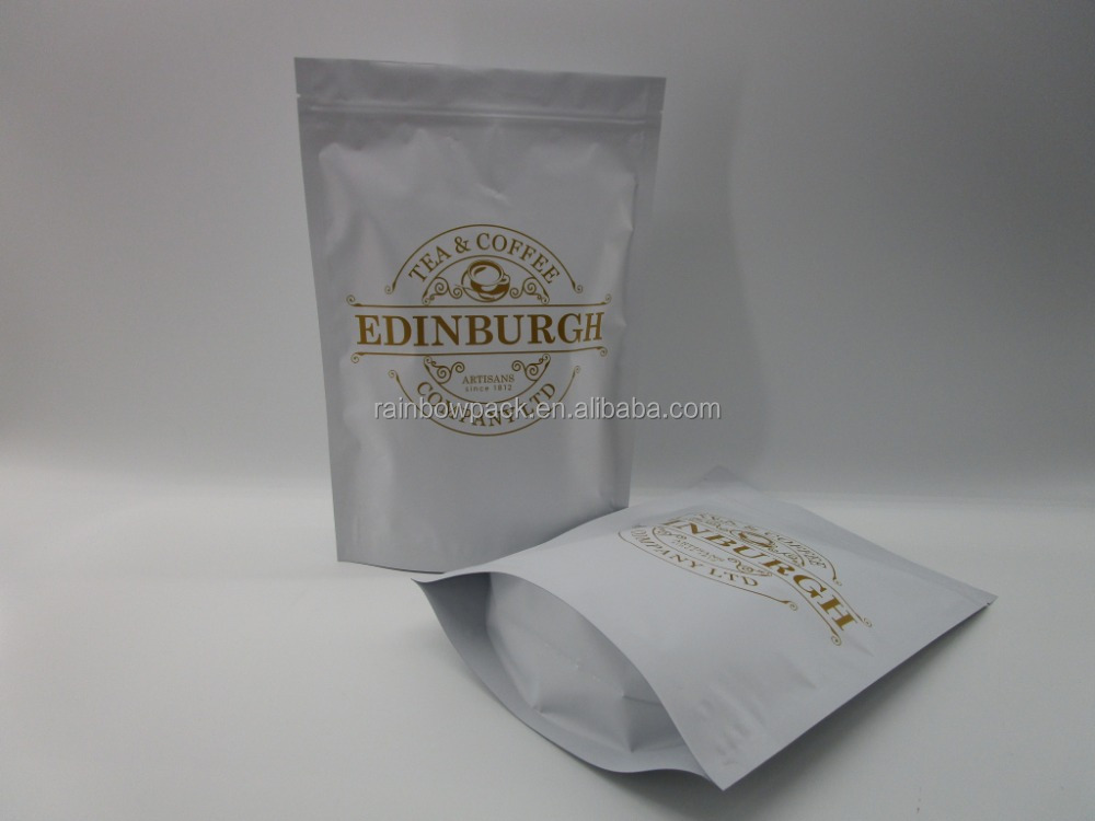 Matt white aluminum foil standing pouch/ standing coffee bag/doy-pack packaging bags