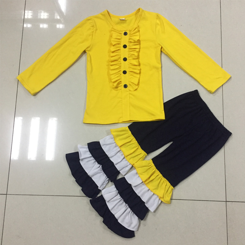 Toddler and infant baby wholesale cotton ruffle girls clothes