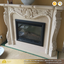 StoneMarkt modern style white stone carved electric fireplace S-020