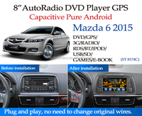 Latest Quad Core 1.6G CPU 16GB Flash Pure android 4.4.4 Car dvd for Mazda 6 2013 / 2014 / 2015 radio gps