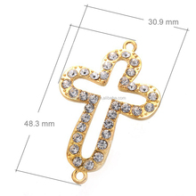 Alloy rhinestone Pave cross beads connector for jewelry finding DIY making