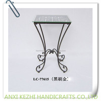 metal square plant stand with glass top