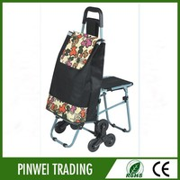 four wheel shopping trolley bag / shopping trolley bag with seat