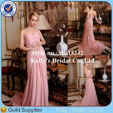 Newest design strapless elegant prom dresses with sleeveless blush pink long tail cocktail dress