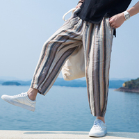Summer Loose Men Pants Wide Legs Stripe Print Calf Length Button Decor Baggy Harem Trousers Male HipHop Joggers