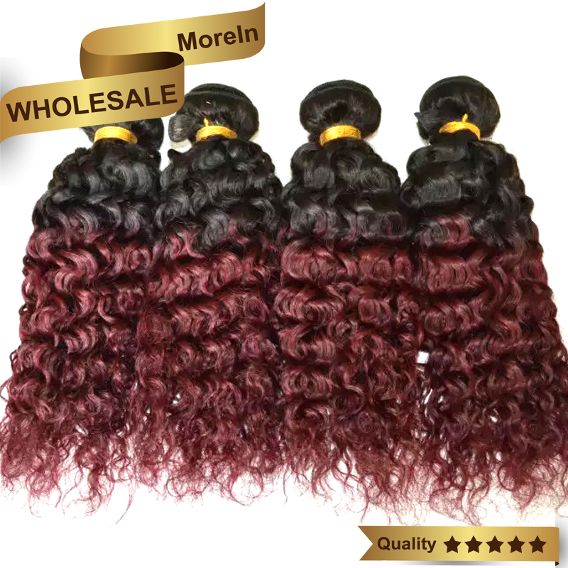 Kinky Curly Brazilian Hair 1B Burgundy Ombre Two Tone Human Hair Weave Remy Red Hair Extensions 8-32inch