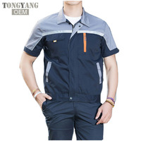 TONGYANG Summer Reflective Thin Work Clothing Sets Unisex Workwear Suits short Sleeve Jacket+Pants Working Factory Uniforms