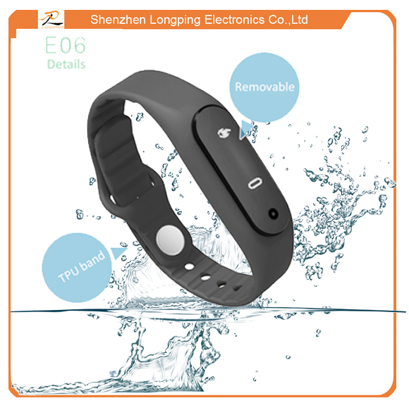 e06 touch screen bluetooth smart bracelet with incoming message