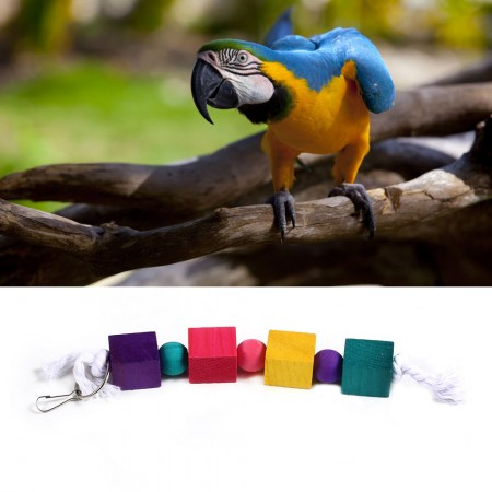 LARGE ROPE AND BEADS PARROT / BIRD TOY