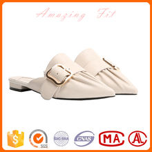 Comfortable simple new design indoor women slipper leather ladies shoes