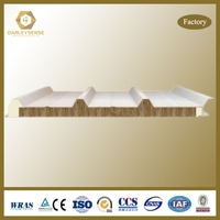 Rockwool sandwich roof panel with waterproof and heat insulation in steel/metal plate for prefab house