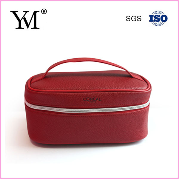 2015 lady red pu travel cosmetic case