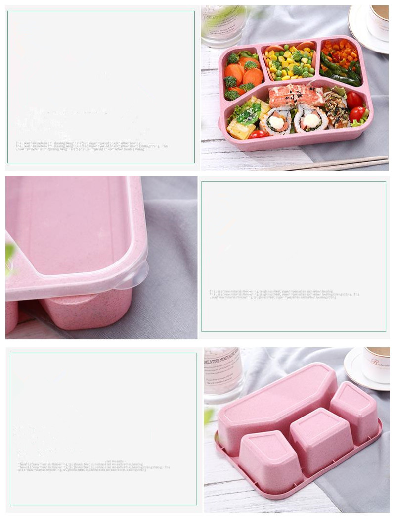 Eco Wheat Straw 4 Compartments Microwave Safe Plastic Leak Proof Food Bento Lunch Box For Kids