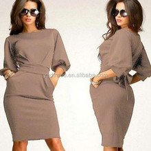 Factory direct sale half sleeve round collar loose dress elegant casual dress whit the belt