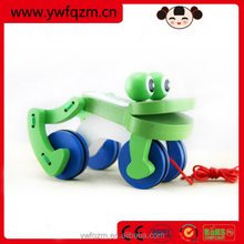 Funny educational handmade animal wooden pull toy