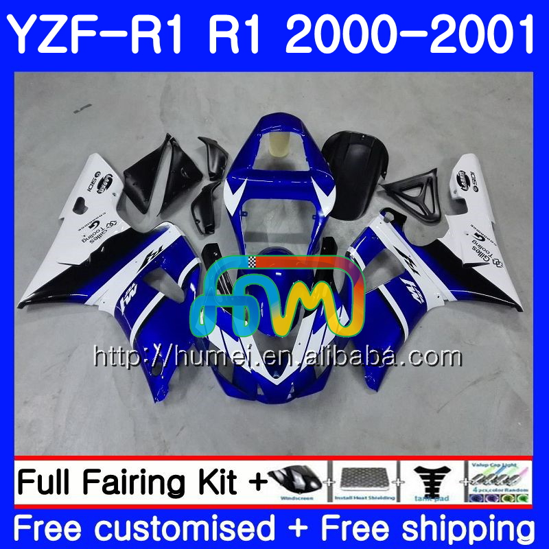 Body For YAMAHA YZF R 1 YZF 1000 YZF-<strong>R1</strong> <strong>00</strong>-<strong>01</strong> blue white Bodywork 98HM12 YZF1000 YZF-1000 YZF <strong>R1</strong> <strong>00</strong> <strong>01</strong> YZFR1 2000 2001 Fairing