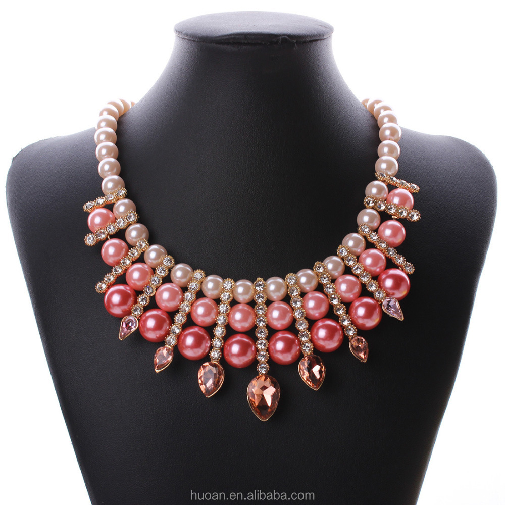 N2764 European and American big exaggeration new retro luxury pearls and precious stones inlaid pearl necklace short paragraph