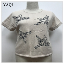 Beautiful Lady Short Sleeve Crewneck Sweater with Bird Embroidery