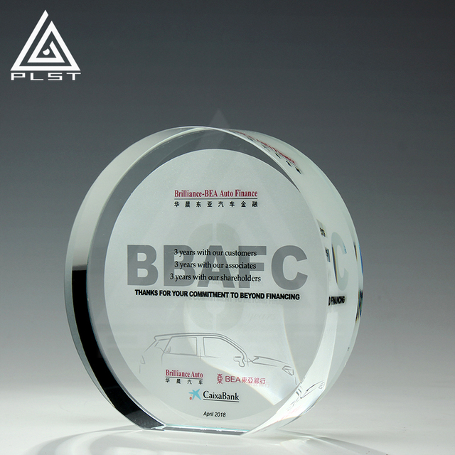 custom design round crystal award and trophy plaque for sonvenir gift