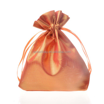 custom cheap satin jewelry drawstring bag with ribbon string