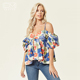 2018 Off Shoulder Spaghetti Strap Floral Womens Tops Blouses