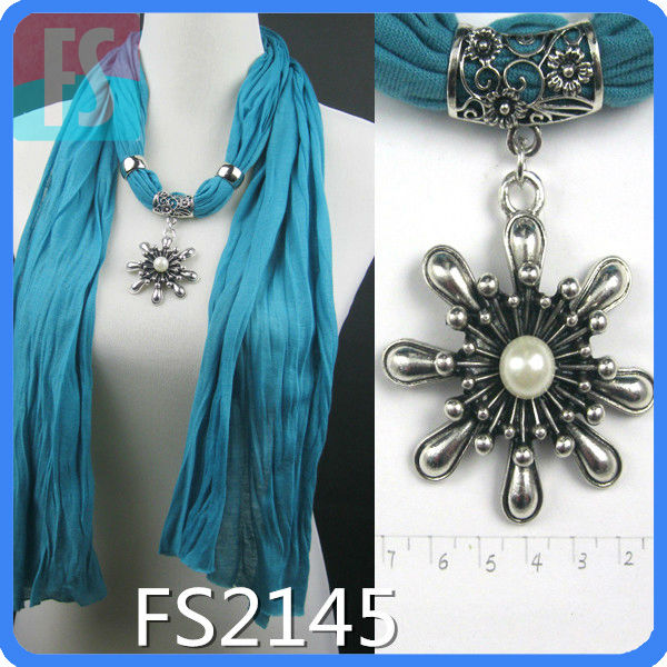 fashion neck scarf with jewelry accessories