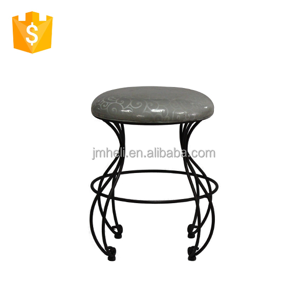 decorative custom upholstered indoor steel frame and leg bench stool