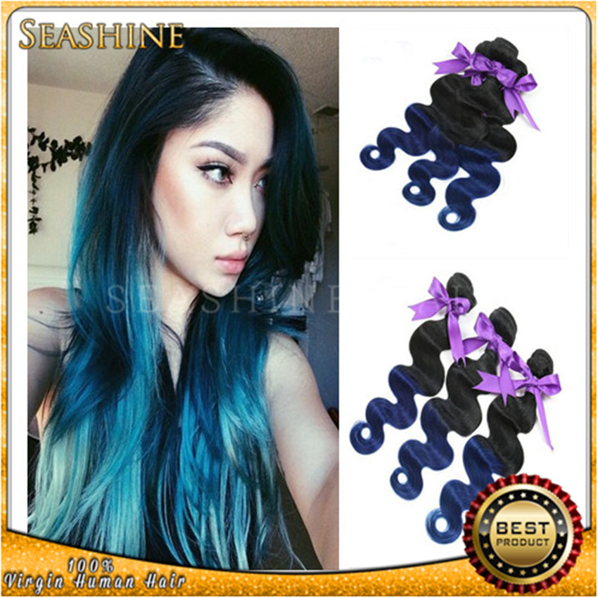 omber 1b/blue two tone Body wave weaves 10-26inch silk remy 100g/pcs mermaid color mix length hair extensions