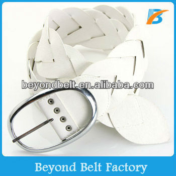 Women's 7cm Wide White Fake Leather Woven Plaited Waist Belt